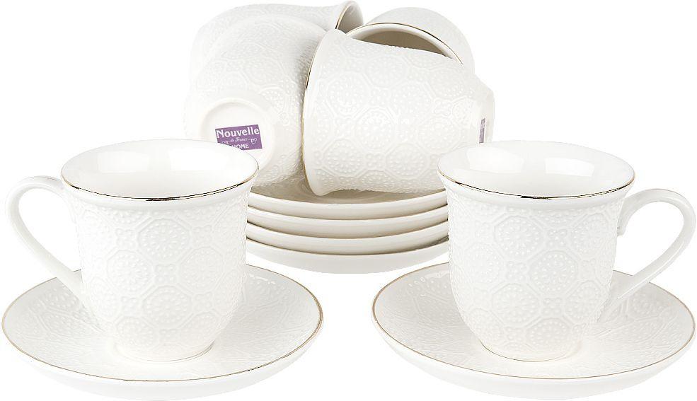 Набор чайный Nouvelle Грация, 2930070, белый, 12 предметов чайный набор 2пр olympia v 220мл золотая обводка фарфор подарочная упаковка