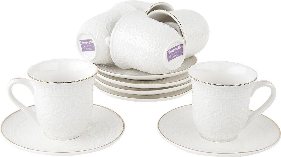 Набор кофейный Nouvelle Гармония, 2930073, белый, 12 предметов чайный набор 2пр olympia v 220мл золотая обводка фарфор подарочная упаковка
