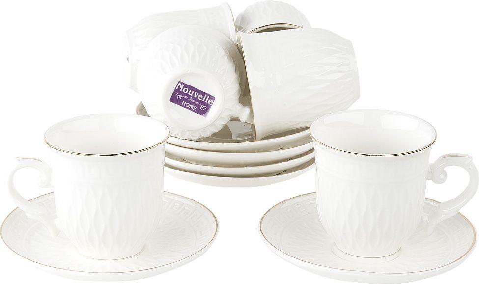 Набор кофейный Nouvelle Олимп, 2930074, белый, 12 предметов чайный набор 2пр olympia v 220мл золотая обводка фарфор подарочная упаковка