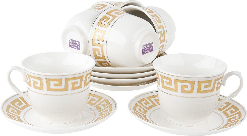 Набор чайный Nouvelle Арго, 2930079, белый, 12 предметов чайный набор 2пр olympia v 220мл золотая обводка фарфор подарочная упаковка