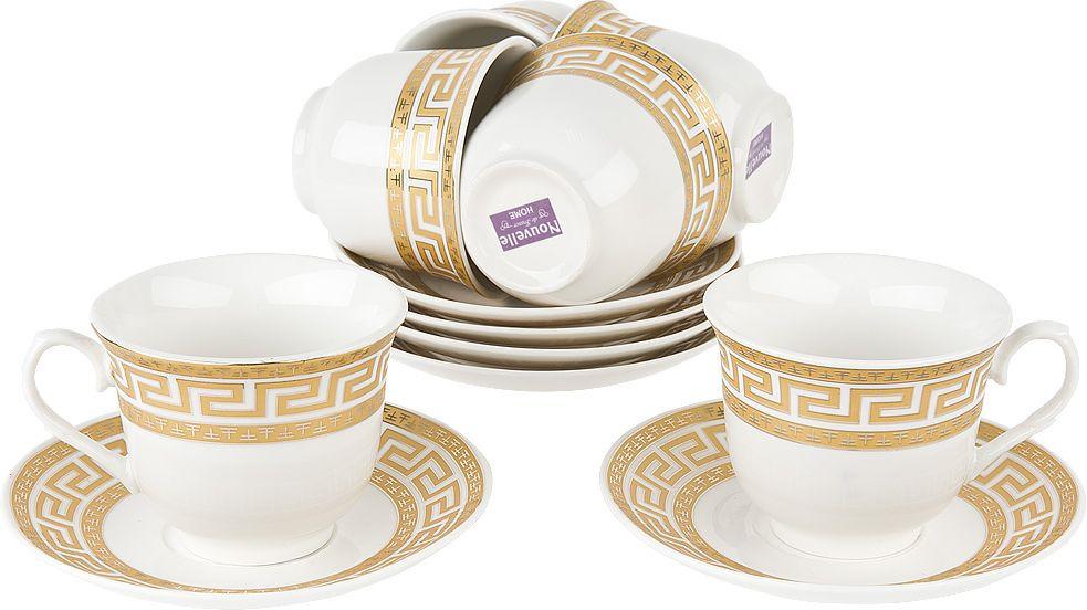 Набор чайный Nouvelle Орнамент, 2930080, белый, 12 предметов чайный набор 2пр olympia v 220мл золотая обводка фарфор подарочная упаковка