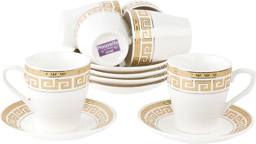Набор кофейный Nouvelle Орнамент, 2930082, белый, 12 предметов чайный набор 2пр olympia v 220мл золотая обводка фарфор подарочная упаковка