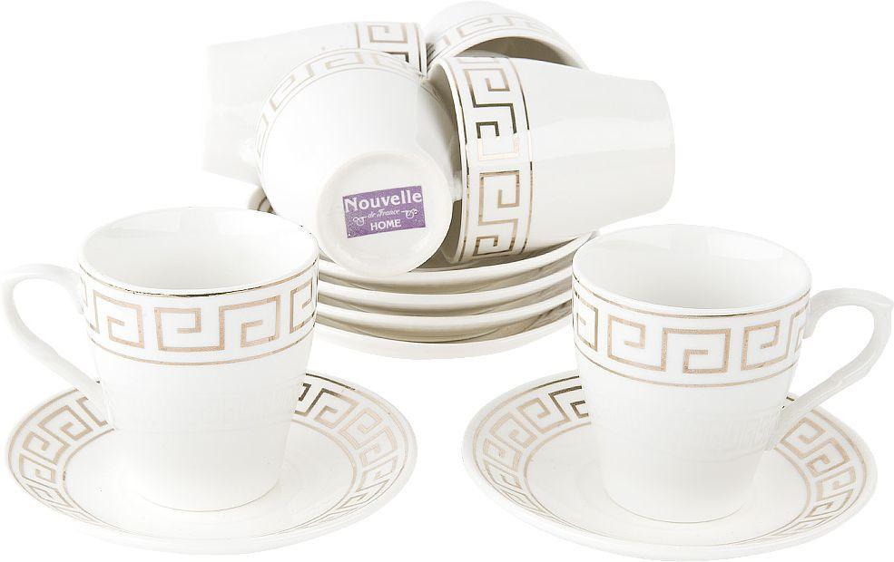Набор кофейный Nouvelle Эллада, 2930083, белый, 12 предметов чайный набор 2пр альпийский сад v 450мл фарфор подарочная упаковка