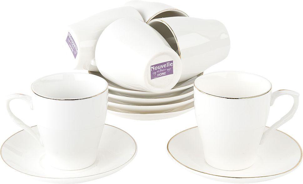 Набор кофейный Nouvelle Классика, 2930084, белый, 12 предметов чайный набор 2пр olympia v 220мл золотая обводка фарфор подарочная упаковка