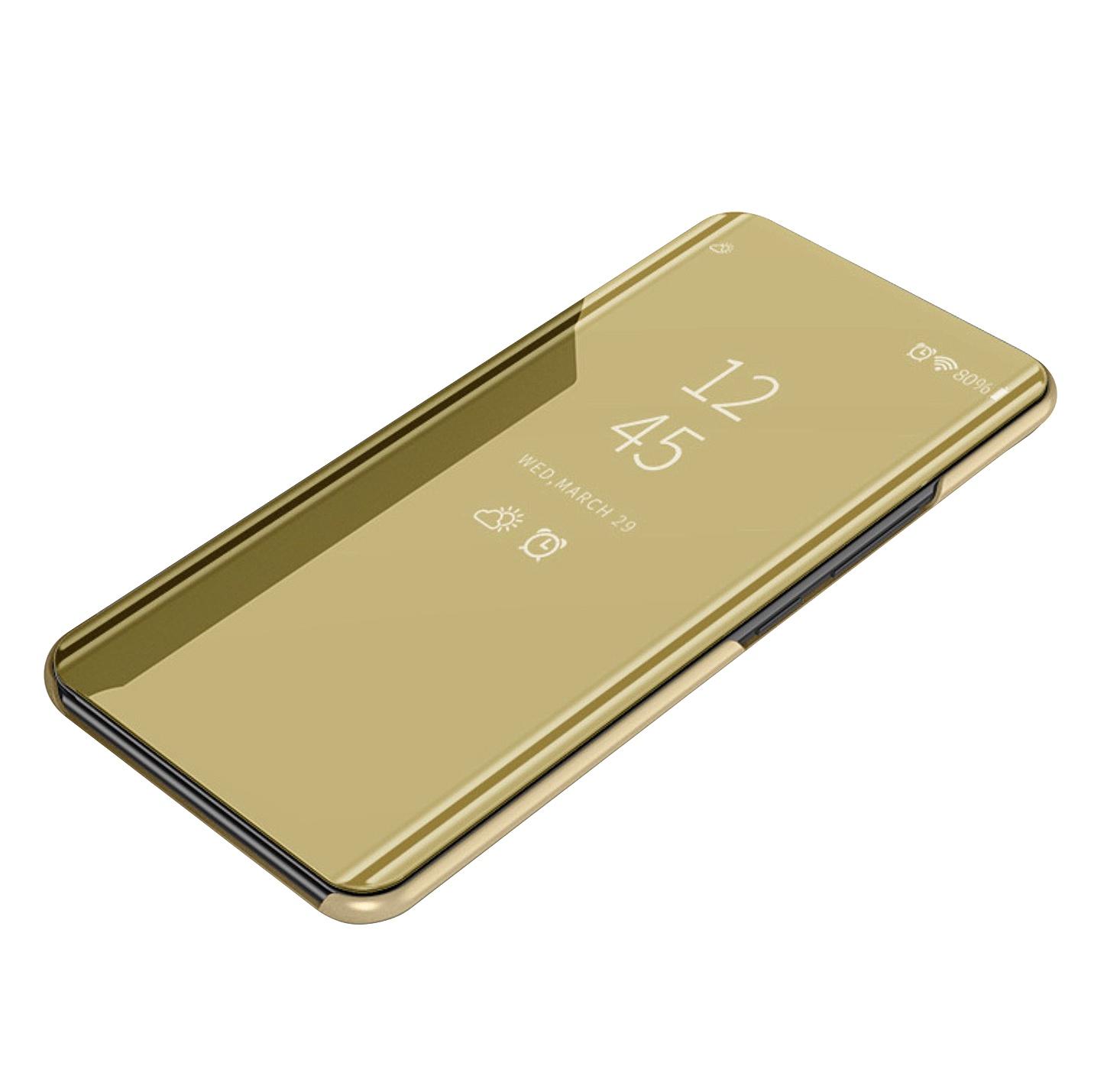 Чехол-книжка MyPads для OPPO A1k / realme C2 2/16GB умный активный с функцией включения и блокировки экрана полупрозрачный с зеркальной поверхностью золотой