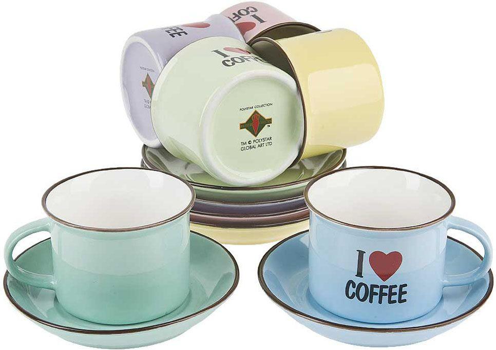 Сервиз кофейный Polystar Collection I love coffee, L2410023, желтый, розовый, голубой, 12 предметов