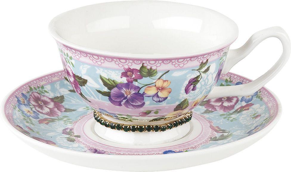Чайная пара Nouvelle Версаль Изумруд, M0661152-1, розовый, бирюзовый, белый, 180 мл чайная пара nouvelle ирис кристалл 180 мл