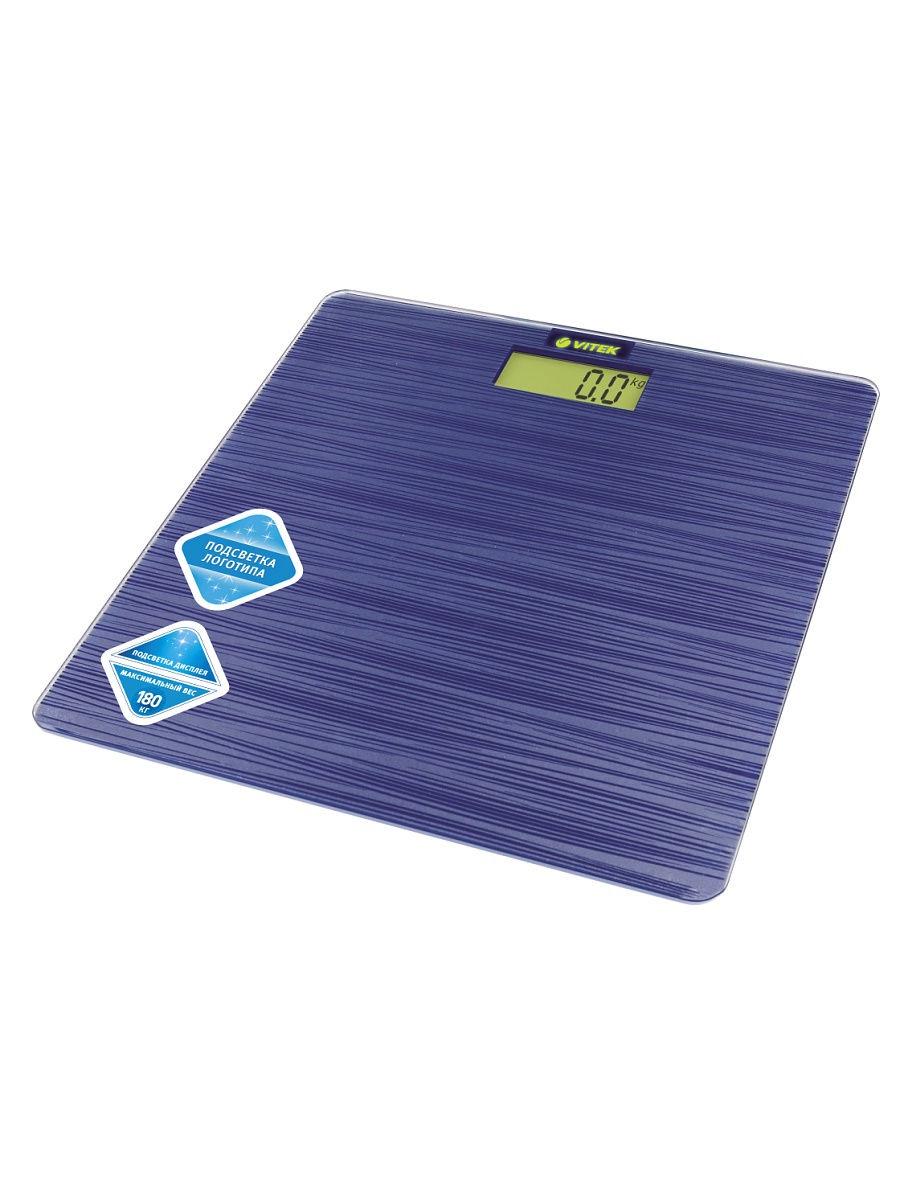 Весы напольные VITEK Максимальная нагрузка 150 кг.Стекло,тип элементов питания CR2032
