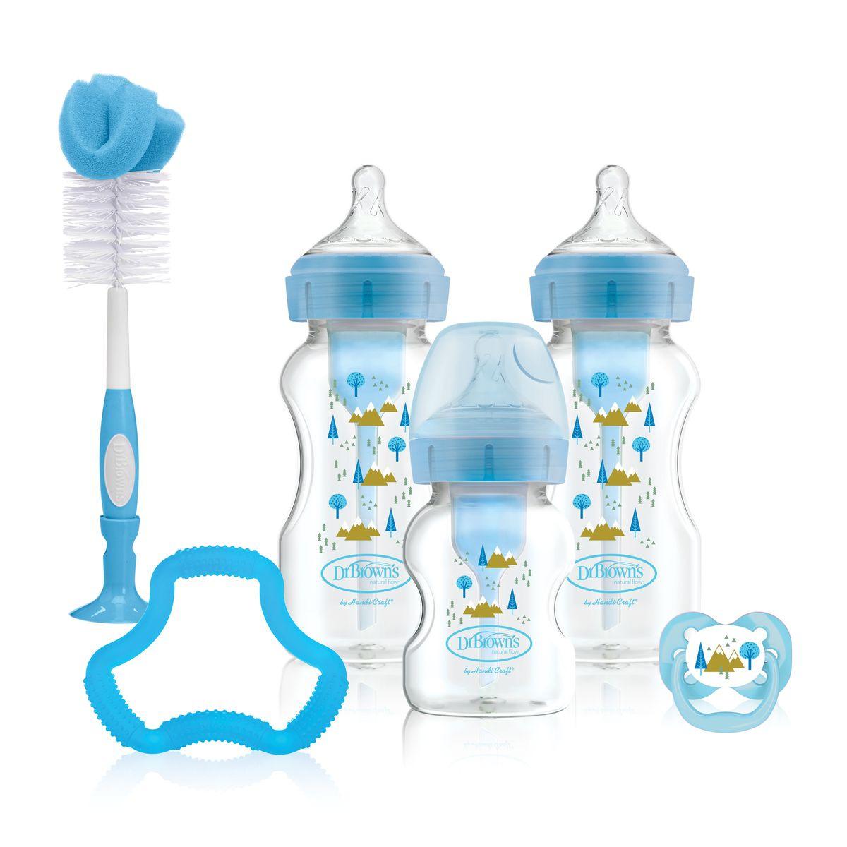 Подарочный набор бутылочек Dr. Browns Options+, антиколиковых с широким горлышком, синий, 8 предметов