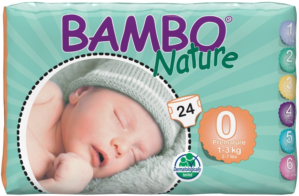 Подгузники Bambo Nature Premature 1-3 кг (24 шт)