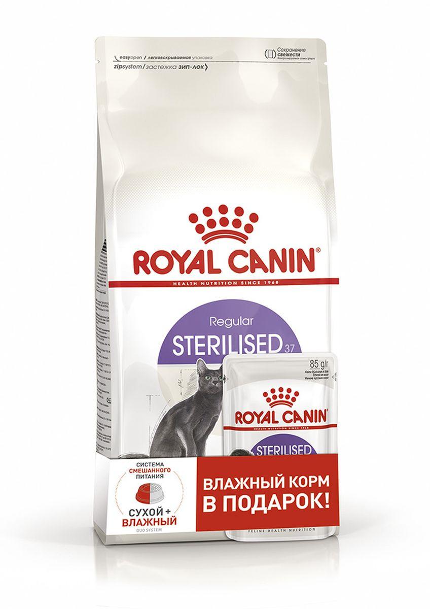 Корм сухой для кошек Royal Canin Sterilised 37, 400 г + Пауч, 85 г royal canin sterilised 37 c курицей 10 кг