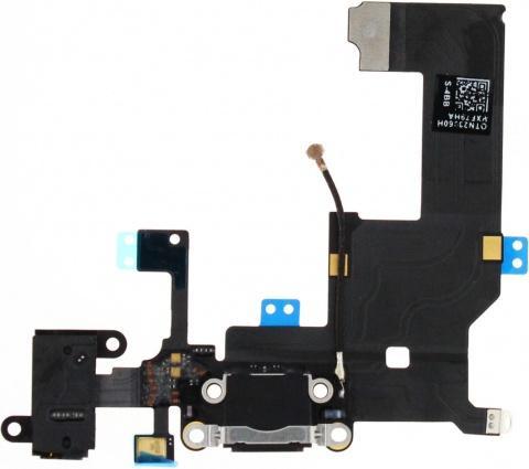 Шлейф для iPhone 5 с разъемами зарядки (Lightning) и аудио (mini-Jack) (черный)