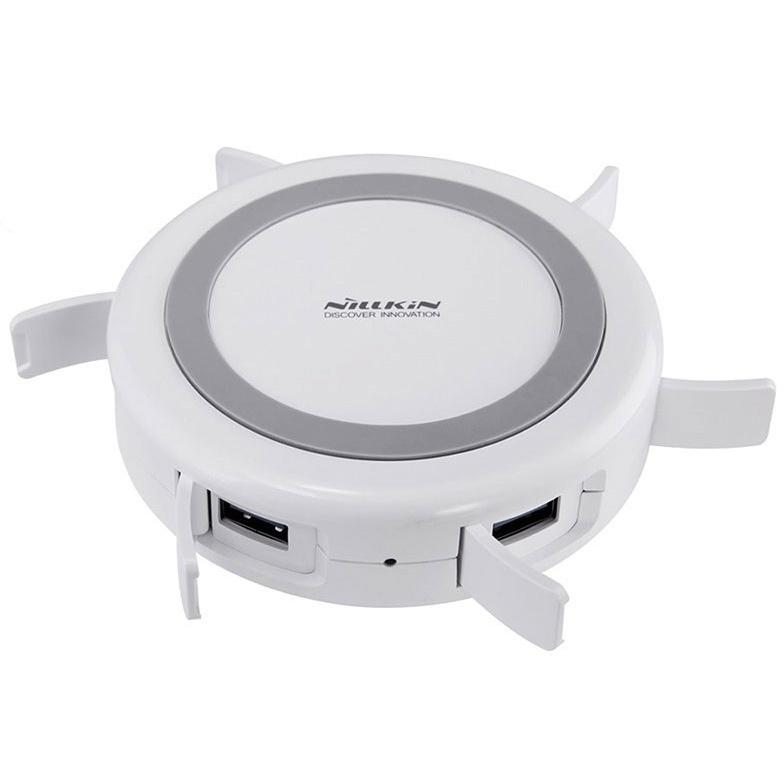Фото - Беспроводная зарядка с хабом 4xUSB Nillkin Hermit - Белая акустическая система беспроводная зарядка часы будильник nillkin cozy mc1