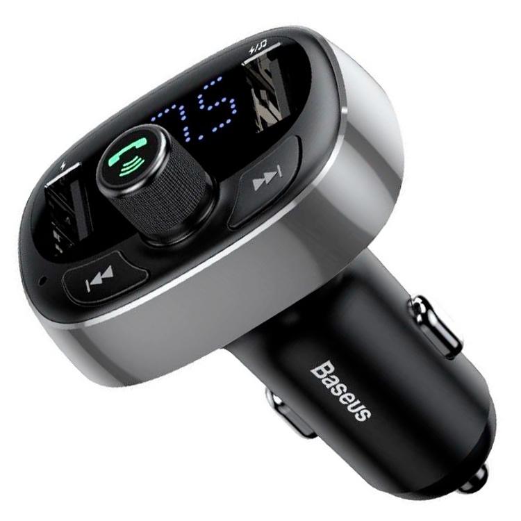 Автомобильное ЗУ с FM-трансмиттером 2xUSB Baseus T typed Bluetooth MP3 - Серебристое