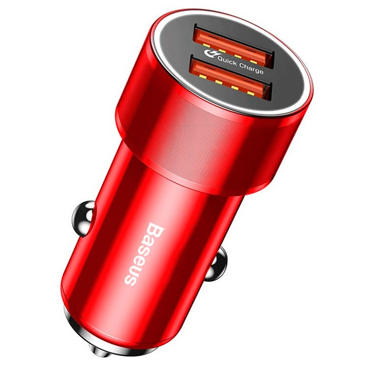 Автомобильное ЗУ QC 3.0 2xUSB Baseus Small Screw - Красное