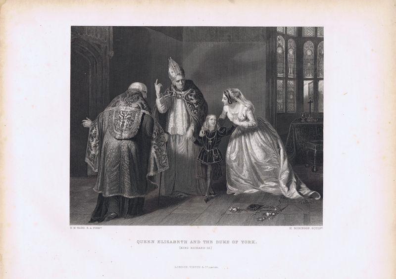 Гравюра. Королева Елизавета и Ричард, герцог Йоркский (Король Ричард III). Офорт. Англия, Лондон, 1873 год джон робинсон масоны рожденные в крови