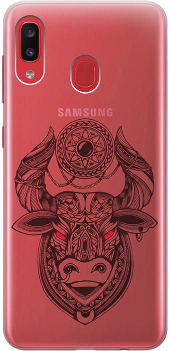 """Ультратонкий силиконовый чехол-накладка для Samsung Galaxy A20 / A30 с 3D принтом """"Grand Bull"""" GOSSO CASES"""