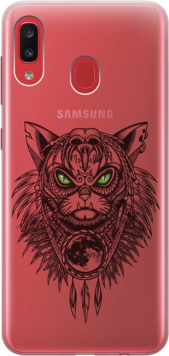 """Ультратонкий силиконовый чехол-накладка для Samsung Galaxy A20 / A30 с 3D принтом """"Shaman Cat"""" GOSSO CASES"""