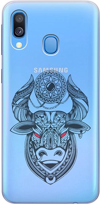 """Ультратонкий силиконовый чехол-накладка для Samsung Galaxy A40 с 3D принтом """"Grand Bull"""" GOSSO CASES"""