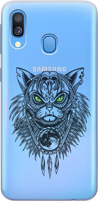 """Ультратонкий силиконовый чехол-накладка для Samsung Galaxy A40 с 3D принтом """"Shaman Cat"""" GOSSO CASES"""