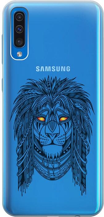 """Ультратонкий силиконовый чехол-накладка для Samsung Galaxy A50 с 3D принтом """"Grand Leo"""" GOSSO CASES"""