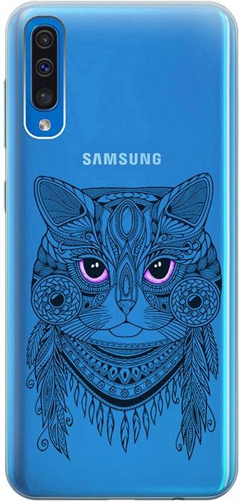 """Ультратонкий силиконовый чехол-накладка для Samsung Galaxy A50 с 3D принтом """"Grand Cat"""" GOSSO CASES"""