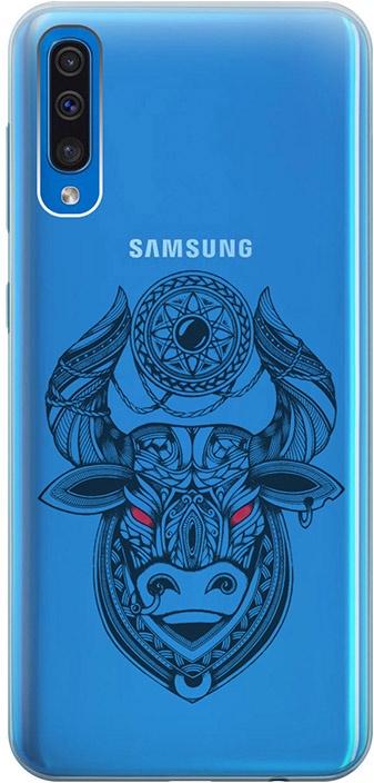 """Ультратонкий силиконовый чехол-накладка для Samsung Galaxy A50 с 3D принтом """"Grand Bull"""" GOSSO CASES"""
