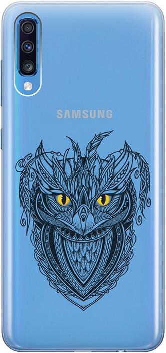 """Ультратонкий силиконовый чехол-накладка для Samsung Galaxy A70 с 3D принтом """"Grand Owl"""" GOSSO CASES"""