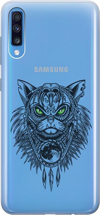 """Ультратонкий силиконовый чехол-накладка для Samsung Galaxy A70 с 3D принтом """"Shaman Cat"""" GOSSO CASES"""