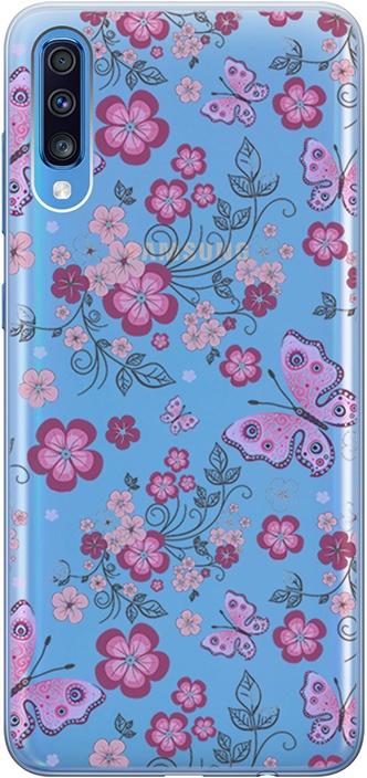 """Ультратонкий силиконовый чехол-накладка для Samsung Galaxy A70 с 3D принтом """"Butterflies & Flowers"""" GOSSO CASES"""