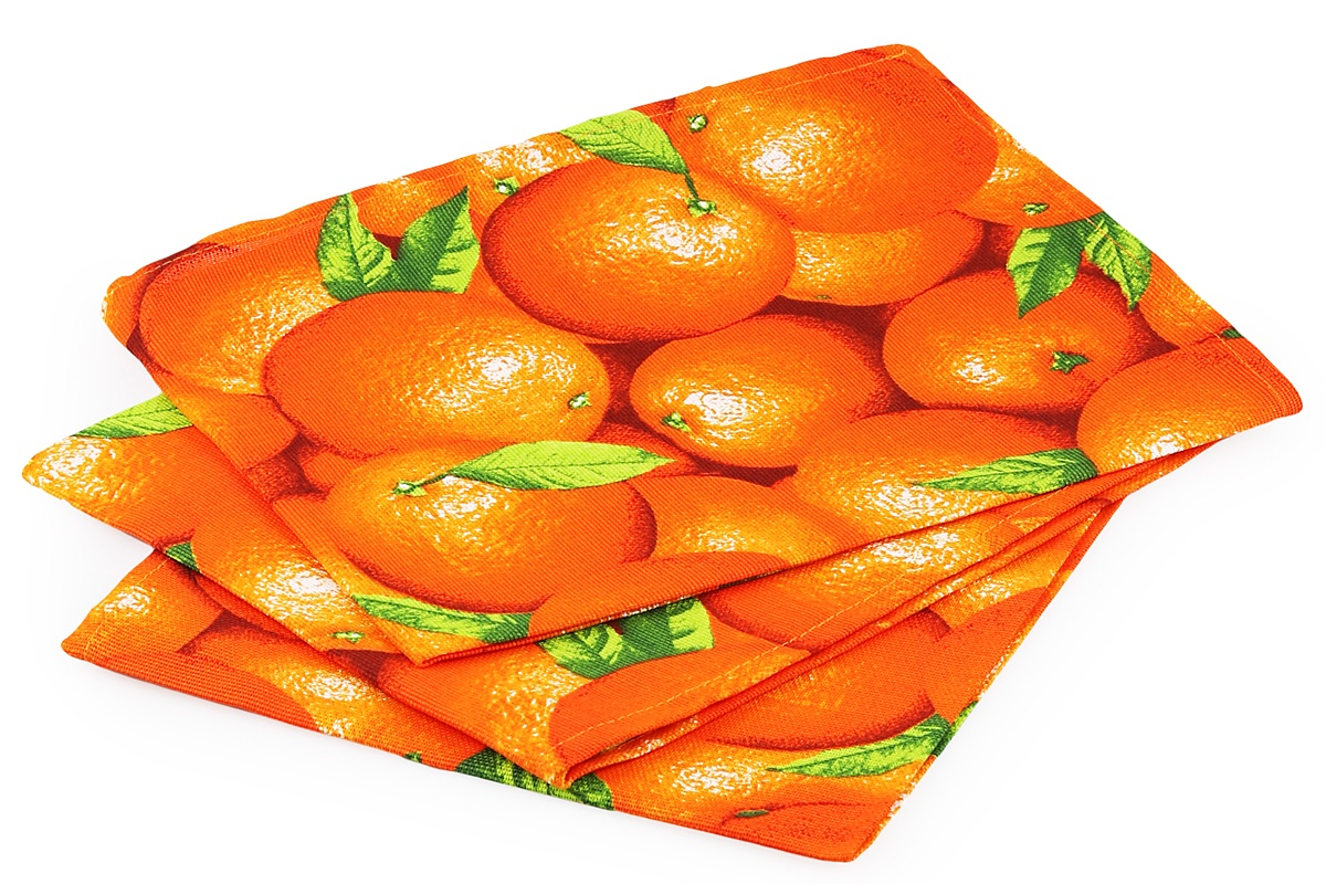 Набор кухонных полотенец из 3х штук - Апельсин 45х60Domo Vita. ДВ-4161788 набор кухонных полотенец из 3х штук прованс 45х60domo vita дв 2936851