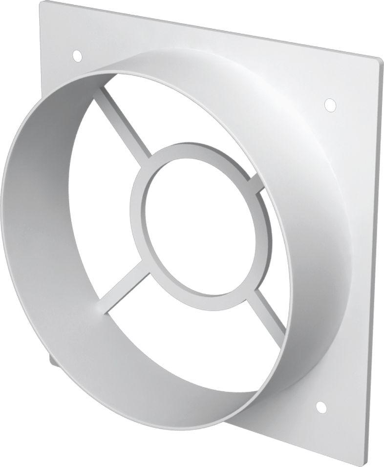 Накладка торцевая ERA, 1111Ф10, белый, с фланцем, 11,3 х 11,3 см накладка торцевая пластик 150х150 для воздуховода d100