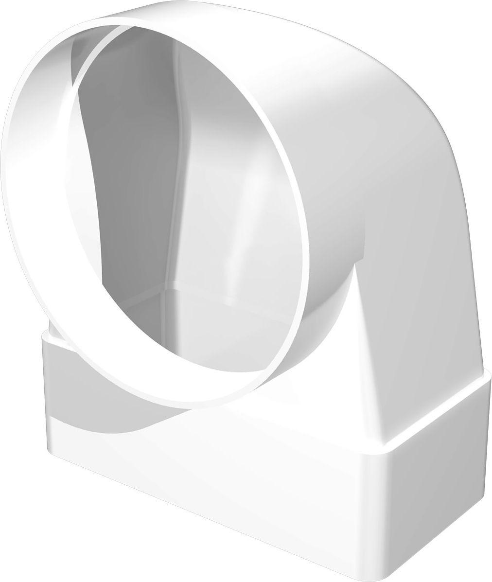 Соединительно-монтажный элемент ERA, 620СК10ФП, белый, угловой, 90°, для соединения плоского воздуховода с фланцевым воздухораспределителем накладка торцевая пластик 150х150 для воздуховода d100