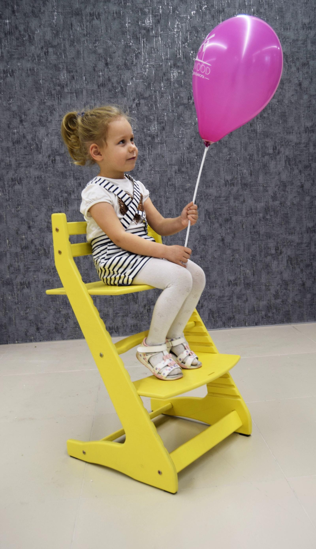 Растущий регулируемый стул. Детский стульчик для кормления Вырастайка - желтый