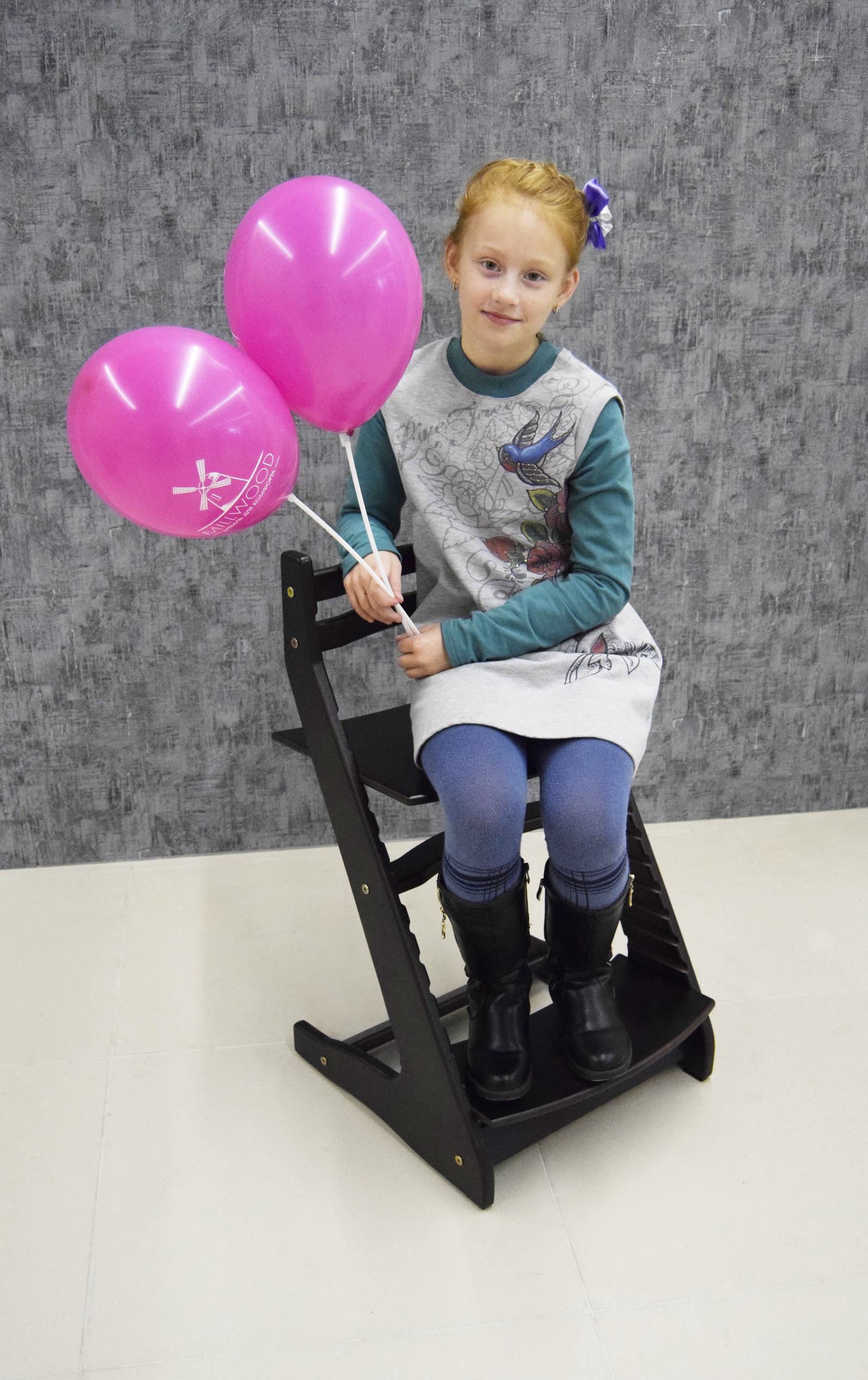 Растущий регулируемый стул. Детский стульчик для кормления Вырастайка - черный