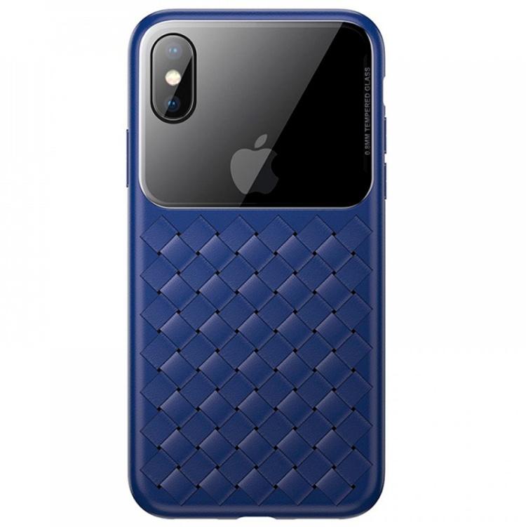 Чехол Baseus Glass & Weaving для iPhone X/XS - Темно-синий цена и фото