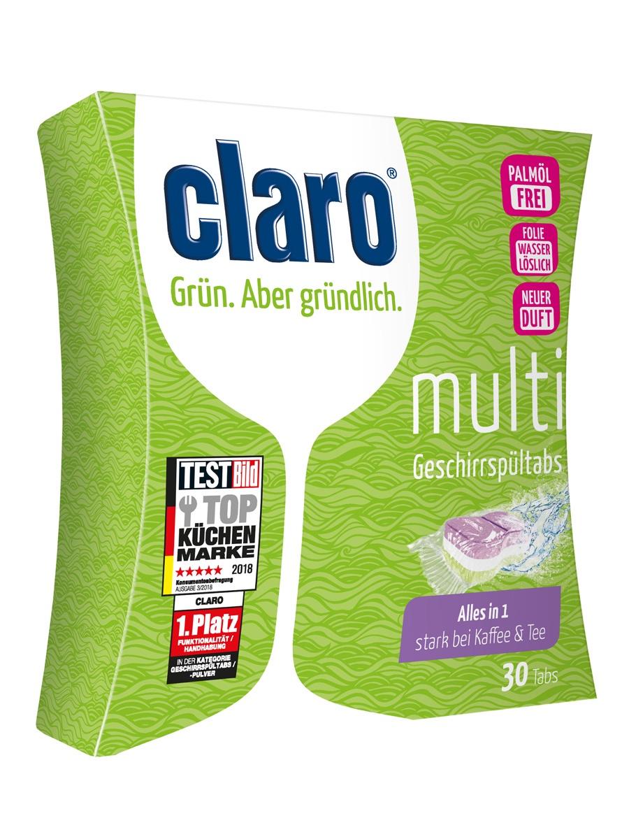 """CLARO ECO Multi Таблетки """"Все в одном"""" для мытья посуды в посудомоечных машинах, 30 шт. / без фосфатов"""