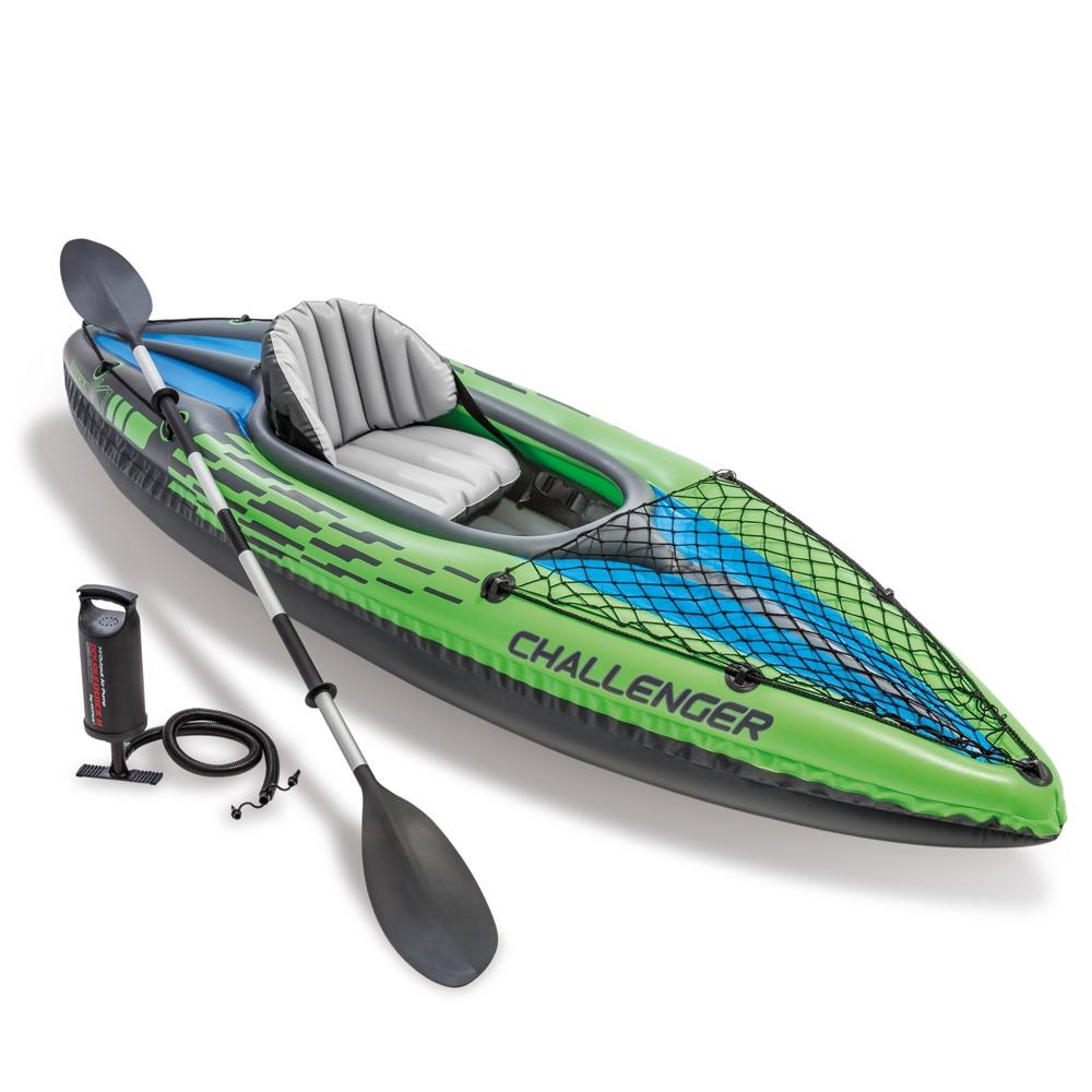 Лодка-каяк надувная INTEX CHALLENGER K1 KAYAK, 274x76x33 см, с насосом и алюминиевыми веслами лодка надувная lenfun kayak