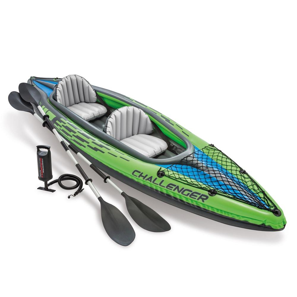 Лодка-каяк надувная INTEX CHALLENGER K2 KAYAK, 351x76x38 см, с насосом и алюминиевыми веслами лодка надувная lenfun kayak