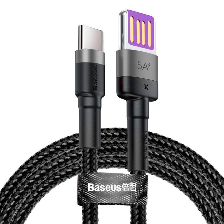 Кабель USB - USB Type-C 1м Baseus Cafule HW Quick Charging Blind Interpolation 40W - Черный/Серый (CATKLF-PG1) canyon usb type c usb 3 0 1м черный