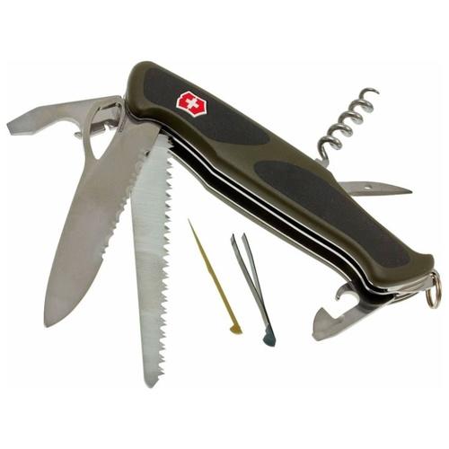 Нож перочинный Victorinox RangerGrip 178 (0.9663.MWC4) 130мм 12функций зеленый/черный карт.коробка