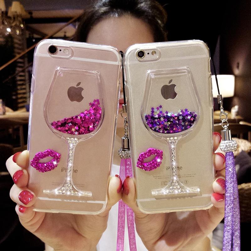 Жидкий Красные губы для Apple iPhone 6/6s Цвет: фиолетовый