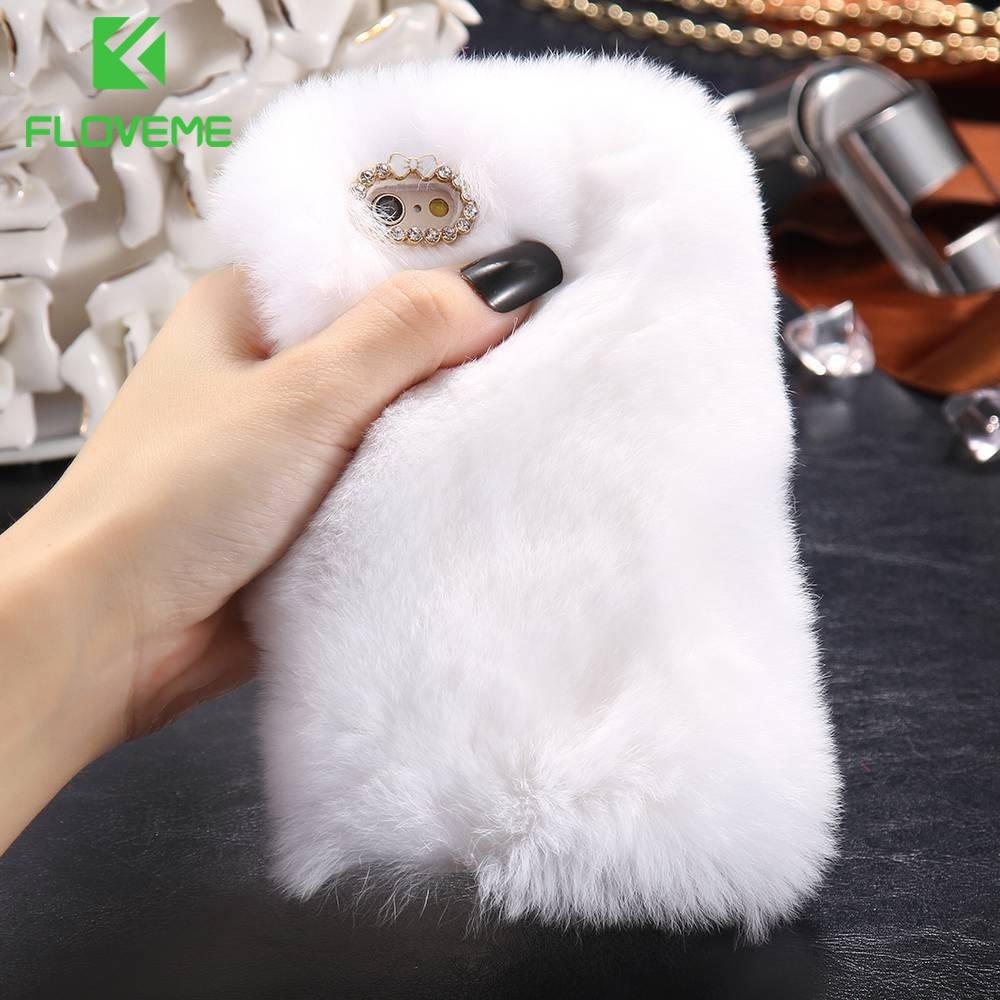 Модный пушистый меховой чехол  телефона Зимний чехол  для Apple iPhone 6 Plus/6s Plus Цвет: белый
