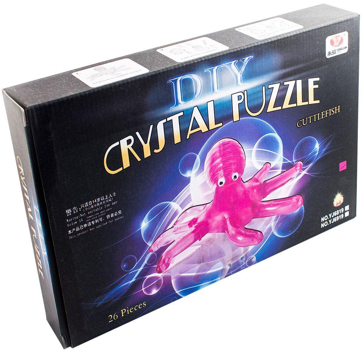 3d crystall puzzle.Осьминог со светом. цвет фиолетовый Hobby Day