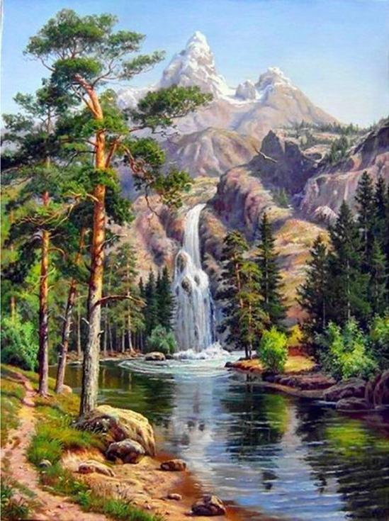 Алмазная мозаика Алмазная Живопись Горный водопад, 30x40 см