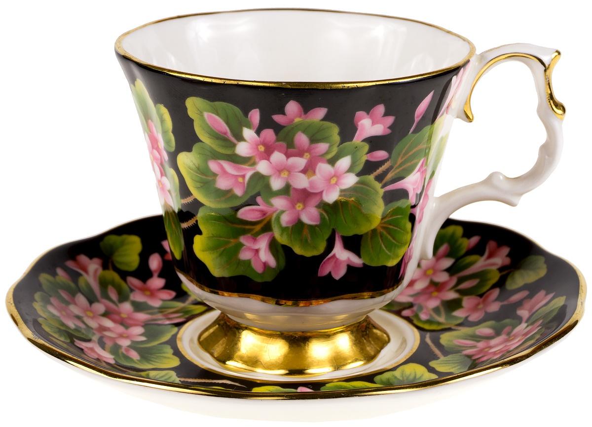 """Кофейная пара """"Майские цветы"""". Фарфор, деколь, золочение. Royal Albert, Великобритания, 1975 год"""