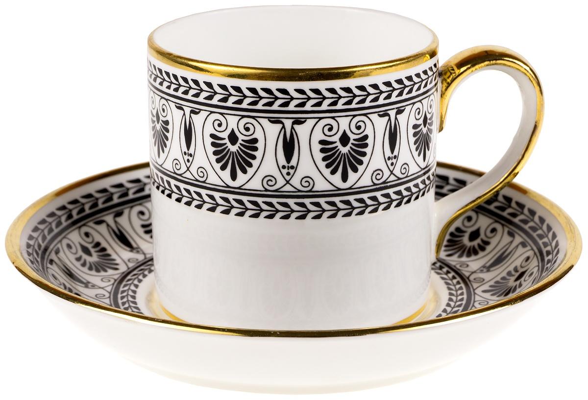 """Кофейная пара """"Черная Виктория"""". Фарфор, делоль золочение. Crown Staffordshire, Великобритания, 1960-е гг."""