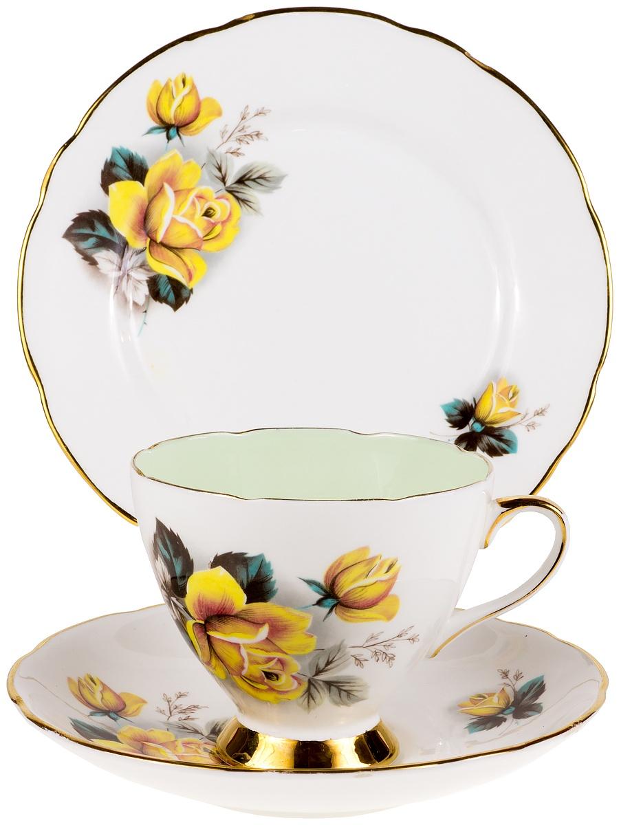 """Чайное трио """"Розы на нежно-зеленом"""". Фарфор, деколь, золочение. Gladstone, Великобритания, 1960-е гг."""