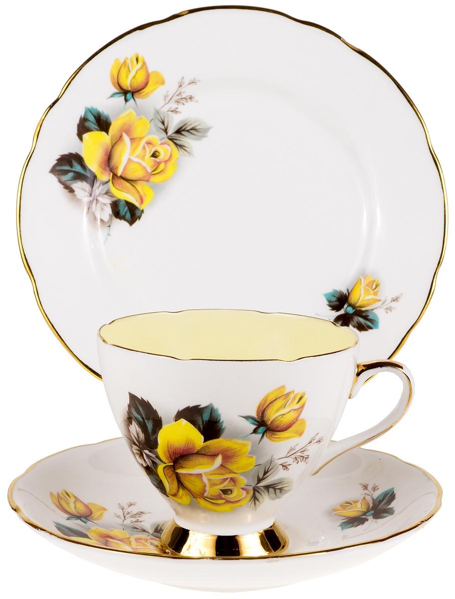 """Чайное трио """"Розы на желтом"""". Фарфор, деколь, золочение. Gladstone, Великобритания, 1960-е гг."""