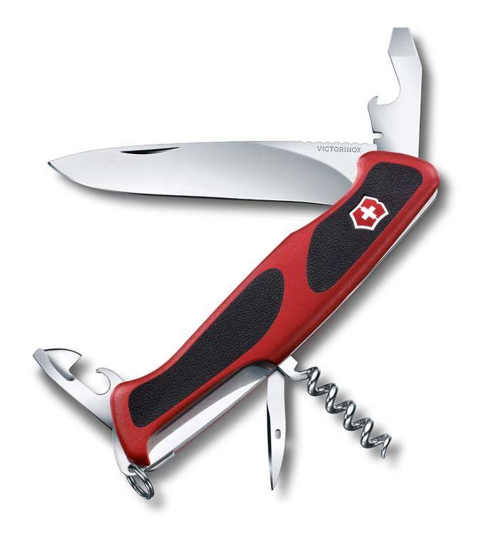 Нож перочинный VICTORINOX RangerGrip 68, 130 мм, 11 функций, красный с чёрными вставками
